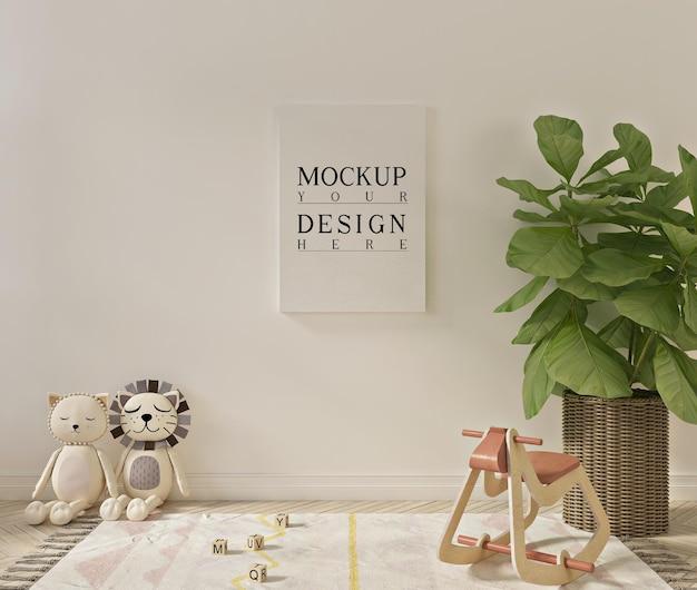 Макет плаката в простом и милом интерьере игровой комнаты