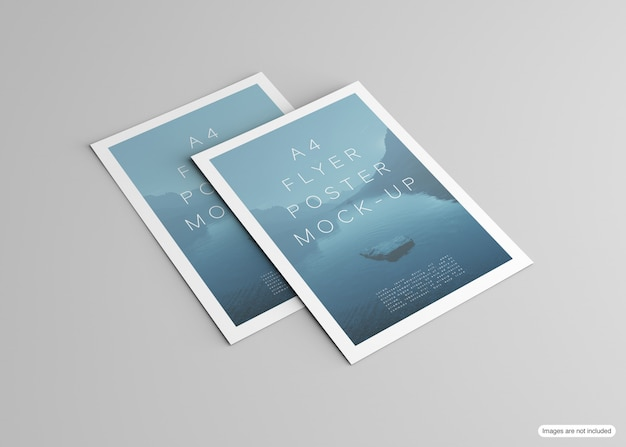 Poster mockup isolated on grey
