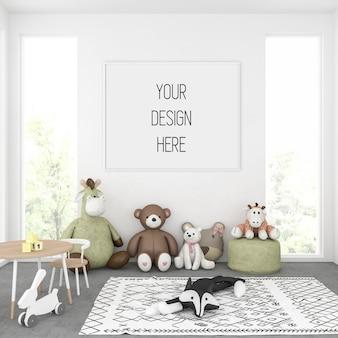 Poster mockup, kids room with horizontal frame