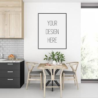 Poster mockup, kitchen with vertical frame, scandinavian interior