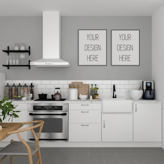 Poster mockup, kitchen with vertical frame, scandinavian interior