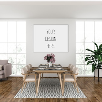 Poster mockup, living room with horizontal frame