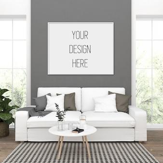 Макет плаката, гостиная с горизонтальной рамой