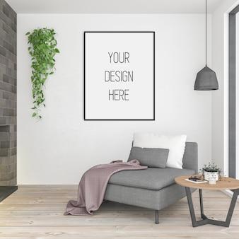 ポスターのモックアップ、垂直フレーム付きのリビングルーム