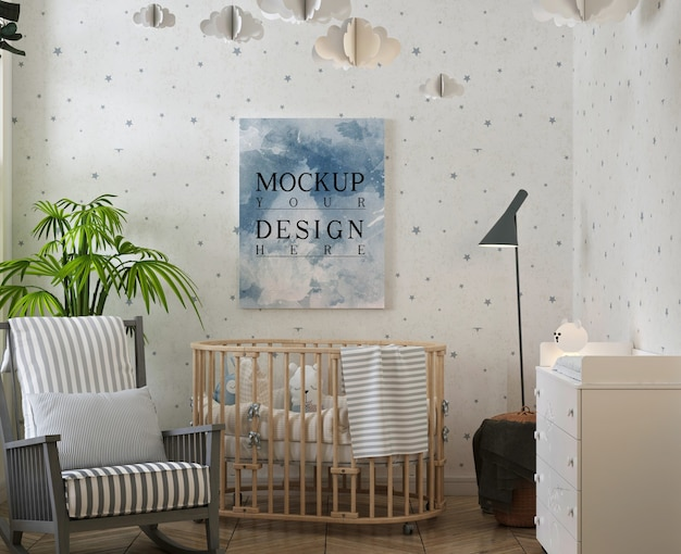 Poster mockup in modern baby bedroom with rocking chair