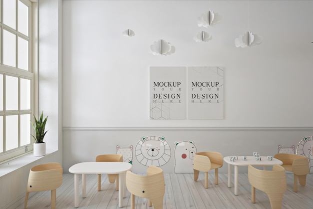 Poster mockup in modern contemporary kindergarten