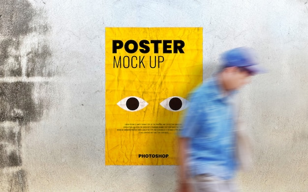 Poster mockup on old cement wall