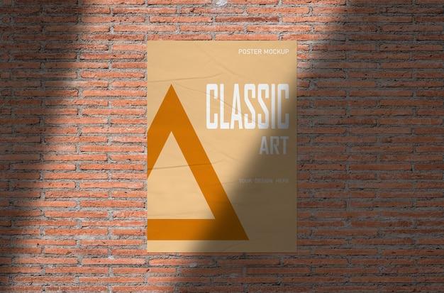 Макет плаката на оранжевой кирпичной стене