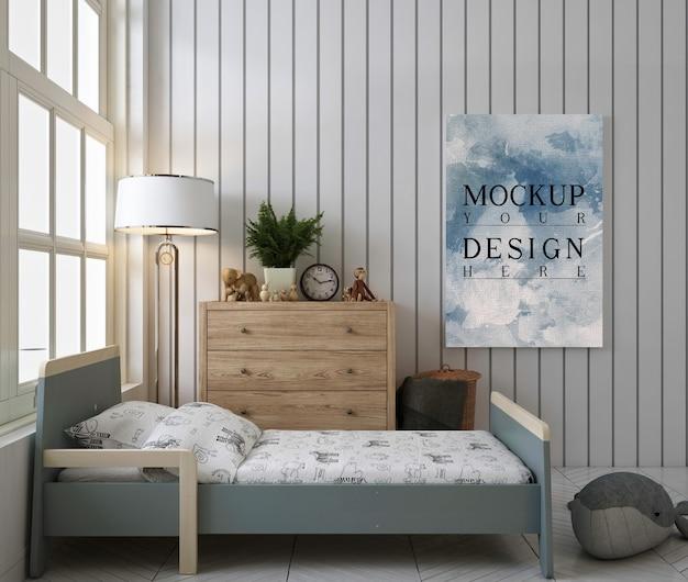 Макет плаката на стене в милой и симпекидной спальне