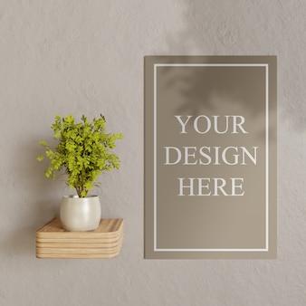 Макет плаката на стене с растением