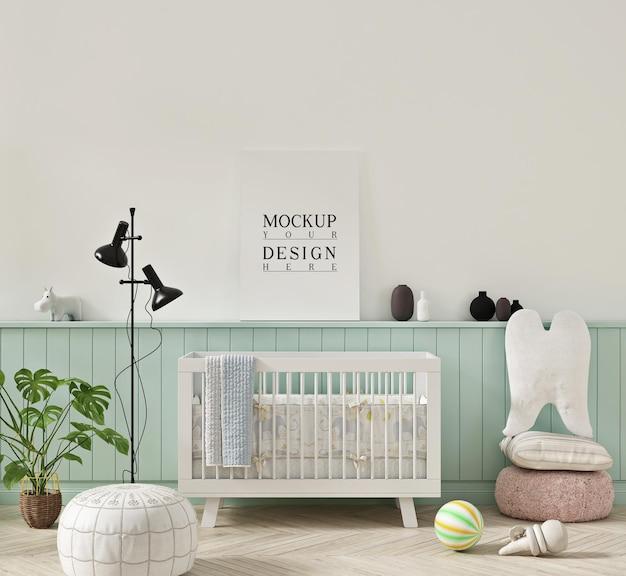 Poster mockup in pastel colour nursery room