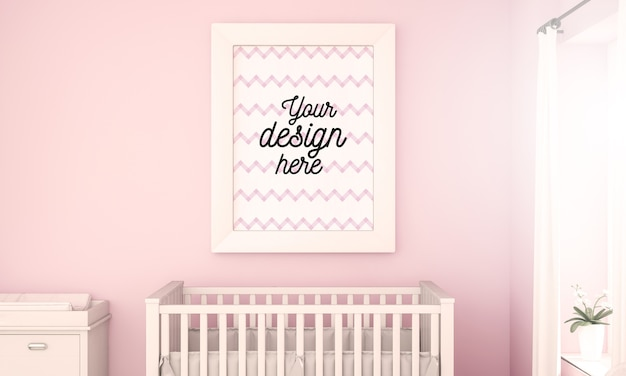 Poster mockup on pink baby room wall
