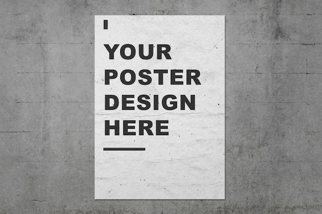 Poster mockup presentations template on grunge concrete wall