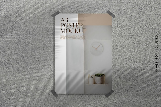 Poster mockup print on wall with leaf shadow