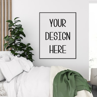 Poster mockup, scandinavian bedroom