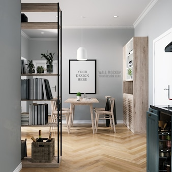 Poster mockup & wall mockup interior scandinavian dining room background