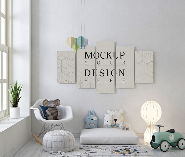 Poster mockup in white playroom with rocking chair