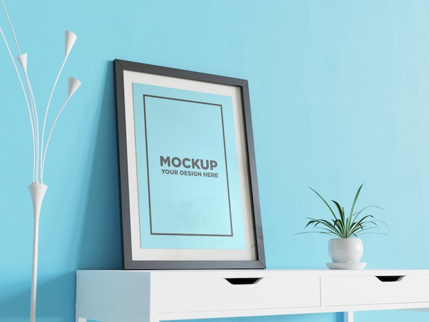 Poster mockup on the white table