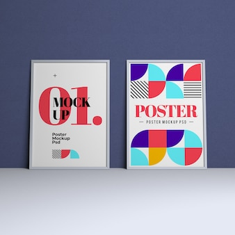 Poster mockup with editable design and changeable background color