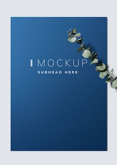 Poster mockup with eucalyptus leaves