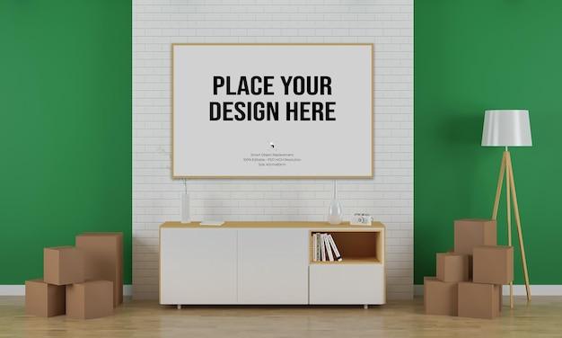 Макет плаката с дизайном интерьера гостиной