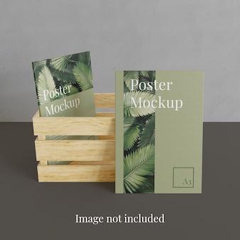Poster mockup with storage wood box
