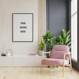 핑크 벨벳 안락의 자 거실 인테리어에 빈 벽에 수직 프레임 포스터 모형. 3d 렌더링