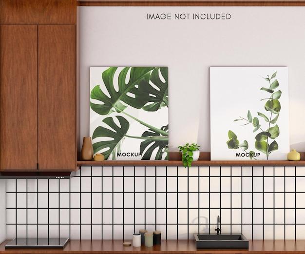Макет плаката с деревянным шкафом на кухне