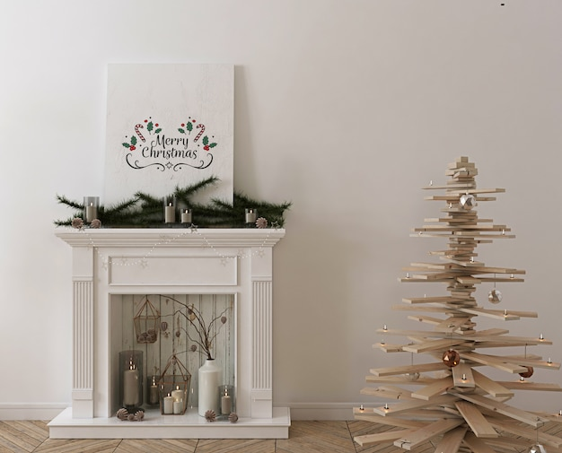 Poster mockup with wooden christmas tree, decoration and presents