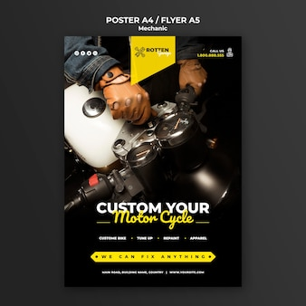 Poster for motorcycle repair shop Free Psd