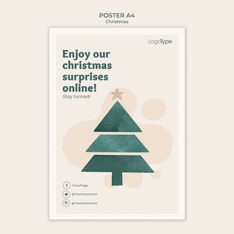 Poster online christmas shopping template