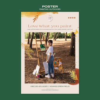 Poster painting outside ad template