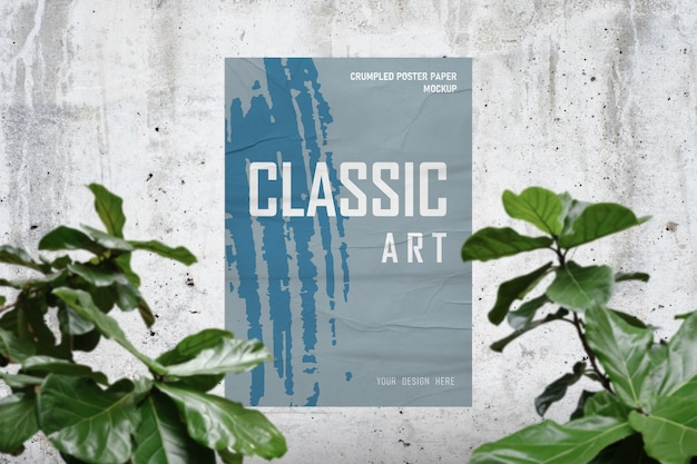 Poster paper mockup on concrete cement room background