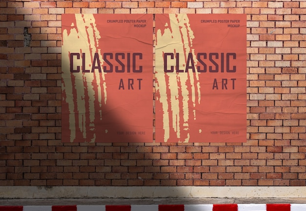 Poster paper mockup on roadside orange brick wall background