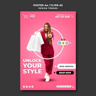 Poster shopping woman ad template