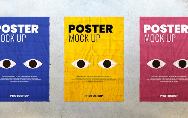 Poster showcase on concrete wall mockup
