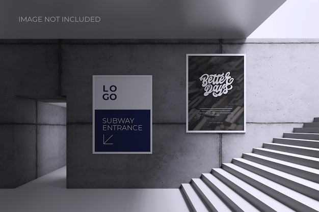 Poster or sign on grey wall mockup
