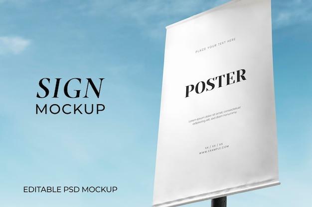 Poster sign mockup psd under blue sky