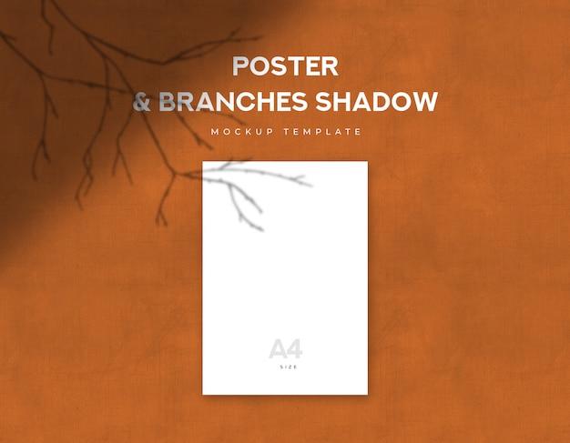 오렌지 지저분한 캔버스에 가지 그림자와 포스터 크기 세로 전단지 프리미엄 PSD 파일