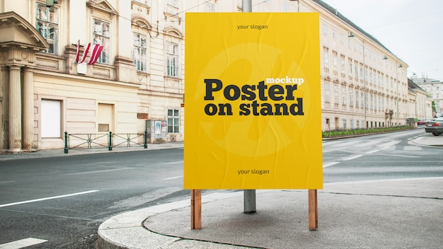 Poster on stand mockup