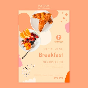 Poster style for breakfast with discount