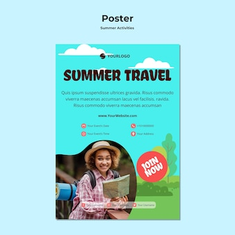 Poster summer travel ad template
