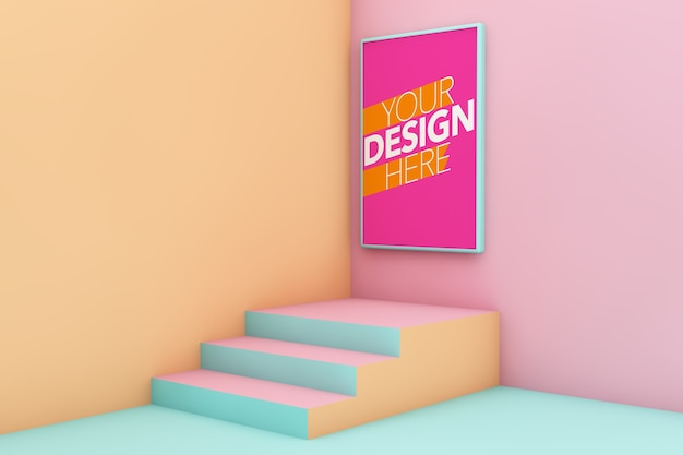 Poster on surreal stage with stairs mockup