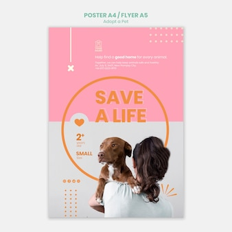 Шаблон плаката принимает дизайн домашних животных
