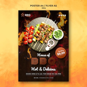 Poster template for barbecue