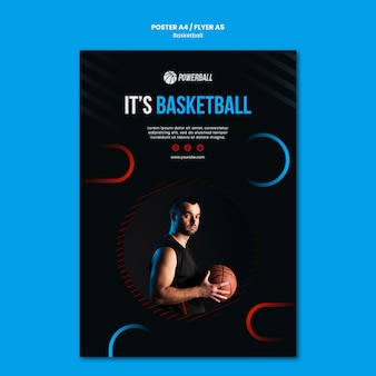 Poster template for basketball game playing