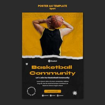 Modello di poster per partita di basket con giocatore di sesso maschile