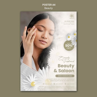 Poster template for beauty and spa with woman and chamomile flowers