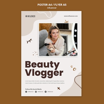 Poster template for beauty vlogger with young woman Free Psd
