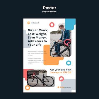 Modello di poster per il pendolarismo in bicicletta con passeggero maschio
